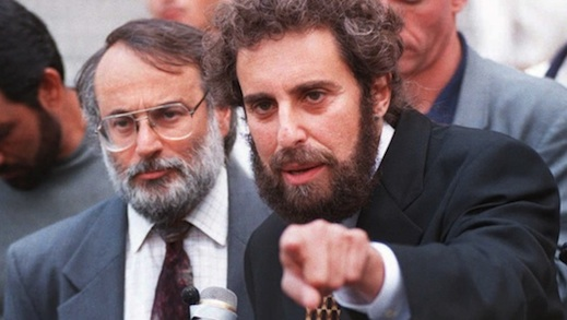 Lawyers Stanley Cohen (R) and Marc Van Der Hout (L), listen to a question from a reporter at a news conference for their client Mousa Abu Marzuk in August of 1995 in New York. (Getty Images)