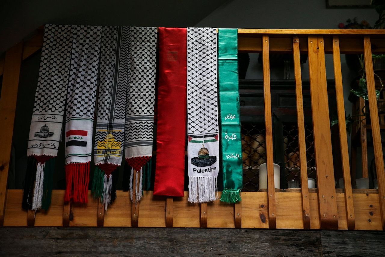 Scarves Mr. Cohen has collected hang in his home in Sullivan County. Credit: Eve Edelheit for The New York Times